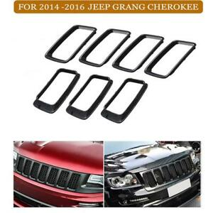 7pcs Black Abs Front Grille Trim Ring Insert For Jeep Grand Cherokee 2014 2016