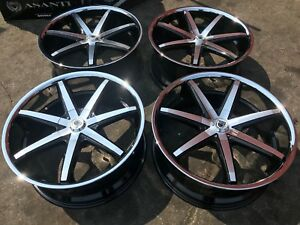 4 22 Inch Asanti 5x127 Chrome Lip Black Wheels Rims Lexani Forgiato Strada