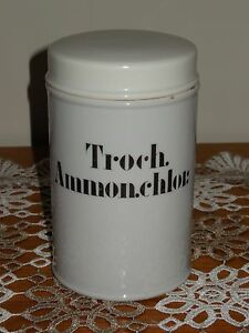 Antique French Porcelain Apothecary Pharmacy Storage Jar Troch Ammon Chlor