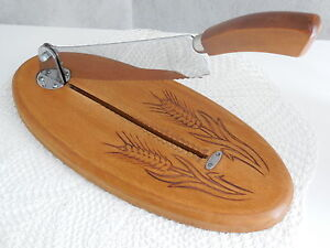 Vintage French Bread Cutting Board Slicer W Tilting Blade Ears Of Wheat