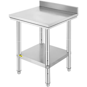 Stainless Steel Work Table Food Prep Kitchen Shelf Restaurant Backsplash 24x24