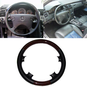 Black Leather Wood Steering Wheel Cover Mercedes 97 02 W208 C208 A208 Clk 430