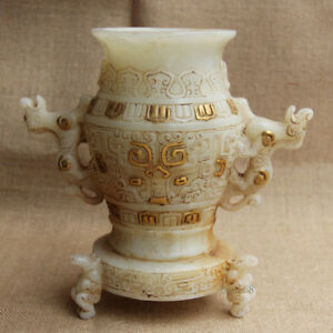 8 Old Gilt White Jade Carved Double Tiger 3 Horse Foot Vase Pot Incense Burner