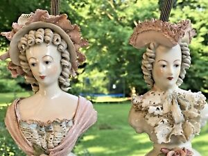 Pair Antique Dresden Lace Porcelain Boudoir Lamps Figures Busts