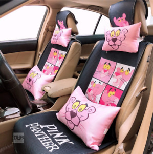 Universal Cute Naughty Pink Panther Front Back Seat Cover Full Set