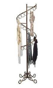 Spiral Scarf Rack Display 27 Rings 6 Tall X 17 Bronze Fleur De Lis Finial