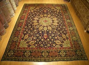 10 X 13 Handmade Fine Quality Antique 1930s Persian Gunbad Design Soft Wool Rug
