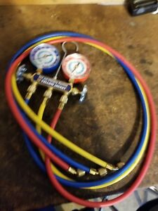 Yellow Jacket 42006 Series 41 Manifold 3 1 8 inch Gauges With Hoses R22