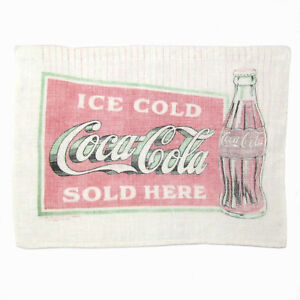 Antique COCA COLA LINEN DISH TOWEL Vtg Advertising Wall Decoration Sign to Frame