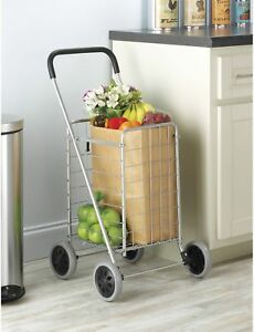 Rolling Utility Cart Heavy Duty Rolling Tires Shopping Kitchen Room Silver Black