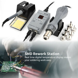 2in1 8878d Digital Soldering Iron Station Desoldering Hot Air Gun Smd Rework Inm