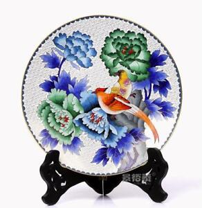 10 China Antique Handmade Cloisonne Enamel Painting Flower Phoenix White Plate