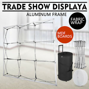 8 Feet Portable Display Trade Show Booth Exhibit Black Pop Up Kit Ed