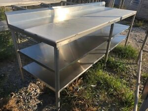 8 Load King Commercial Cutting Stainless Steel Polytop Table 2 Bottom Shelves