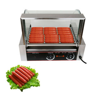 24 Hotdog 9 Roller Commercial Hot Dog Grill Cooker Machine W glass Cover Ce