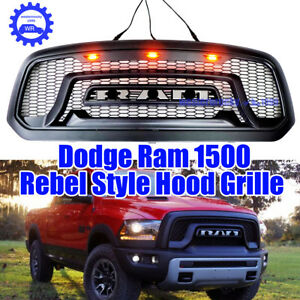 2013 2018 For Dodge Ram 1500 Abs Grille W Led Light Matte Black Rebelstyle