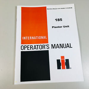 International Mccormick 185 Planter Owners Operators Manual Charts Plate Setting