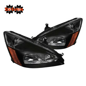 For Honda Accord 03 07 2 4 4cly V6 Jdm Black Headlights Amber Reflector Inspire