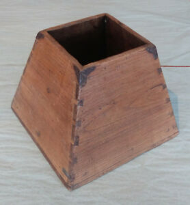 Antique Chinese Wooden Bucket Trapazoid Shape With Iron Grain Measure