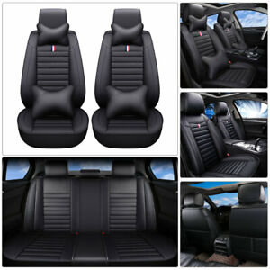 3d Pu Leather Car Suv Seat Cover 5 seats Front rear Cushion Black Universal Fit