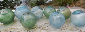Japanese Glass Fishing Floats 3 3 5 Lot 9 Grungy Blue Green Rust Sea Scum Vtg