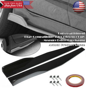 29 Black Side Skirt Rocker Splitter Winglet Wing Canard Diffuser For Vw Porsche