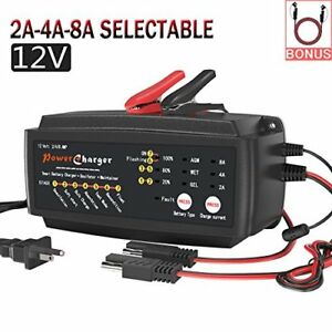 12v 2 4 8a Battery Charger Multi Amp Maintainer Auto Trickle Float Deep Cycle 7