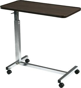 Drive Medical Bedside Overbed Tilt Top Table Rolling Adult Desk Hospital Bed