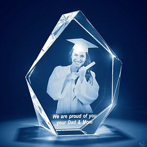 Christmas Laser Engraved 3d Crystal Glass Personalized Etched Gift Lrg Prestige