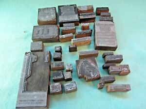 Vintage Lot 36 Assorted Printing Metal wood Stamp Blocks Used In Newspaper Ads