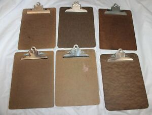 Vintage Lot Of 6 Clipboards Service A w Hardboard Stempel Unmarked