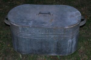 Vintage Farm House Canning Food Old Metal Galvanized Canner Boiler Tub W Lid
