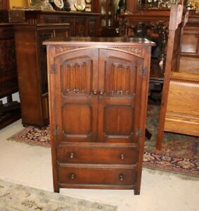 English Antique Dark Oak Small Wooden 2 Door Linen Fold Cabinet With 2 Drawers