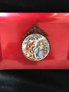 Rare 19th Century Antique German Hand Painted Porcelain Medallion Meissen