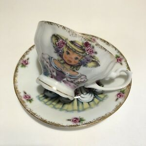 Vintage Doll Of England Cup Saucer Big Eyed Young Girl Swags Bows Roses Japan