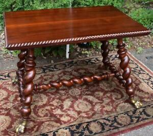 19th Merklin Victorian Solid Mahogany Twisted Legs Parlor Center Table Paw Foot