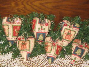 6 Handmade Gingerbread Fabric Christmas Hearts Ornaments Bowl Fillers Home Decor