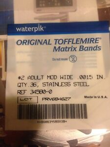 Waterpik Original Tofflemire 2 Mod Bands 90 Packs W 36 Each