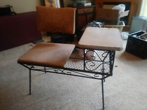 Antique Vintage Telephone Table Seat Gossip Chair Phone Bench Hallway Chic Decor