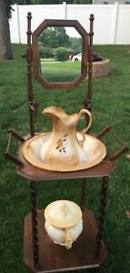 Beautiful Vtg Floral Wash Basin Pitcher Chamber Pot W Solid Wood Stand
