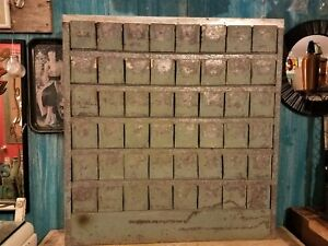 Vintage 42 X 40 1 4 Metal Industrial Wall Mount 48 Bin Storage Cabinet
