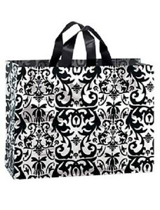 Frosty Plastic Shopping Bags 100 Black White Damask Frosted 16 X 6 X 12 Vogue