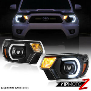 optic Neon Tube Drl For 12 15 Toyota Tacoma Black Projector Led Headlight Lamp
