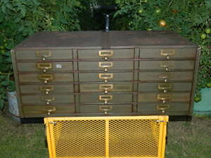 Vintage 1930 s Metal Cabinet 33 X 14 X 17 With 18 Storage Drawers Heavy Duty