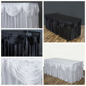 21 Feet X 29 Satin Classic Drape Table Skirt Wedding Party Catering Sale