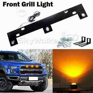 For Ford F150 2009 Now Amber Led Grille Lights Kit W Mounting Bracket