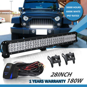 28inch 180w Truck Led Work Light Bar Flood Spot Fit Boat Driving Lamp 30 32