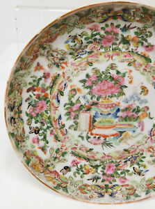 Antique Chinese 19th Century Rose Medallion Plate Dish Moths Butterfly As Is