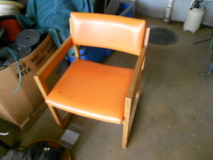 3 Vintage Mid Century Modern Light Oak Arm Chairs Americana Orange Vinyl