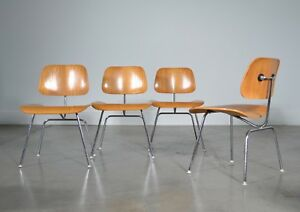 Set Of 4 Charles Ray Eames Herman Miller Dcm Dining Chairs